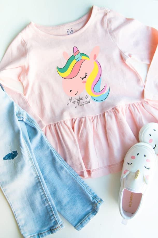 kids unicorn shirt silhouette