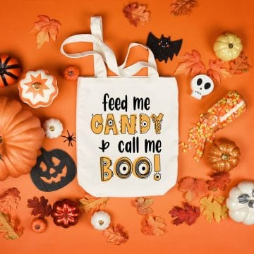 homemade halloween candy tote that says feed me candy and call me boo