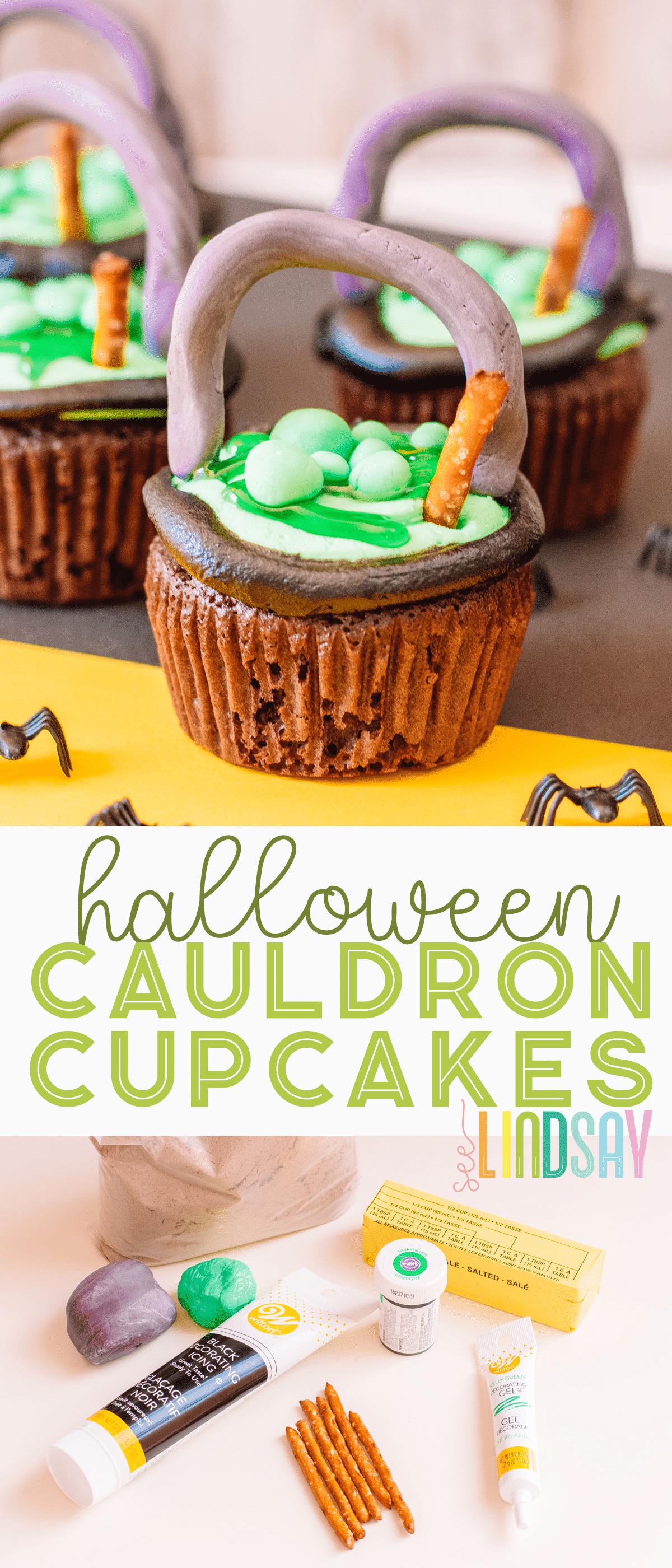 easy halloween witch cauldron cupcakes