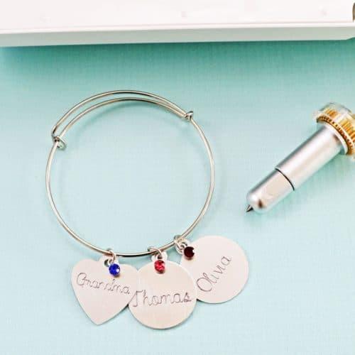engraved bracelet charm cricut