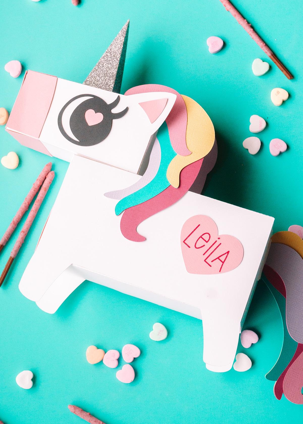 unicorn valentine box made with silhouette cameo