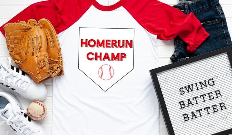 FREE Baseball SVG files – Homerun Champ Shirt