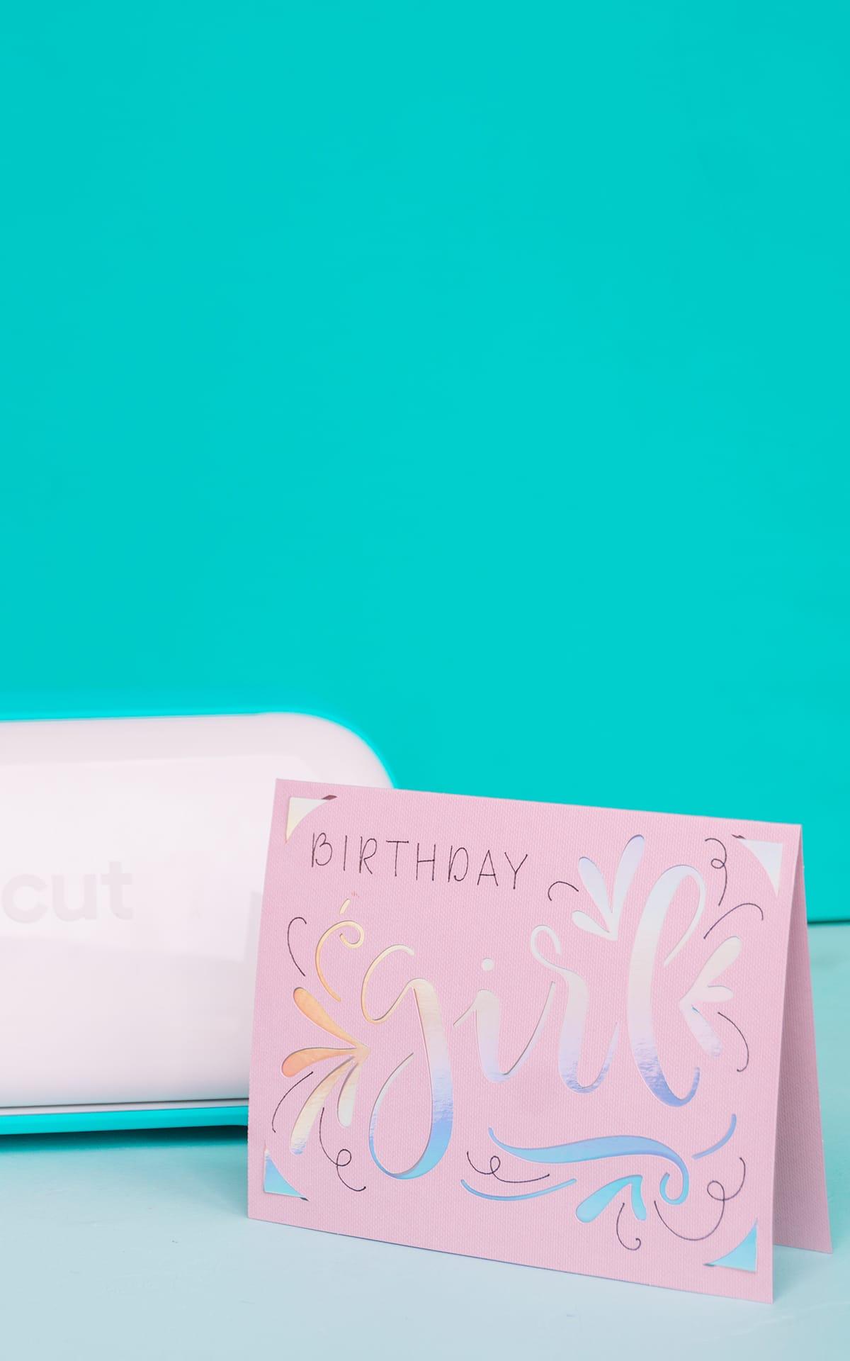 cricut girls birthday card