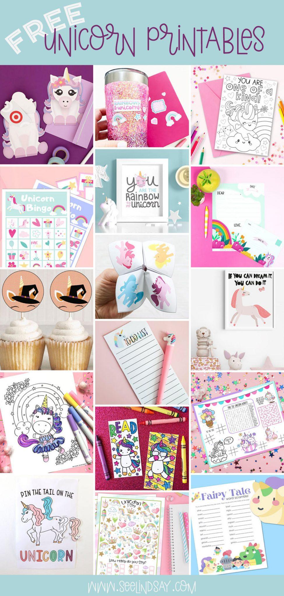 free unicorn printables