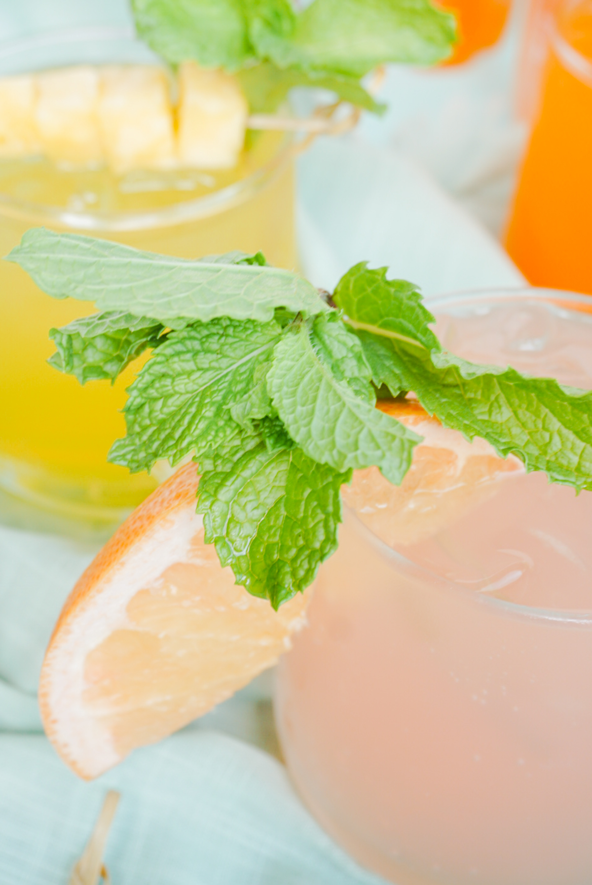 pink grapefruit drink in holiday cup