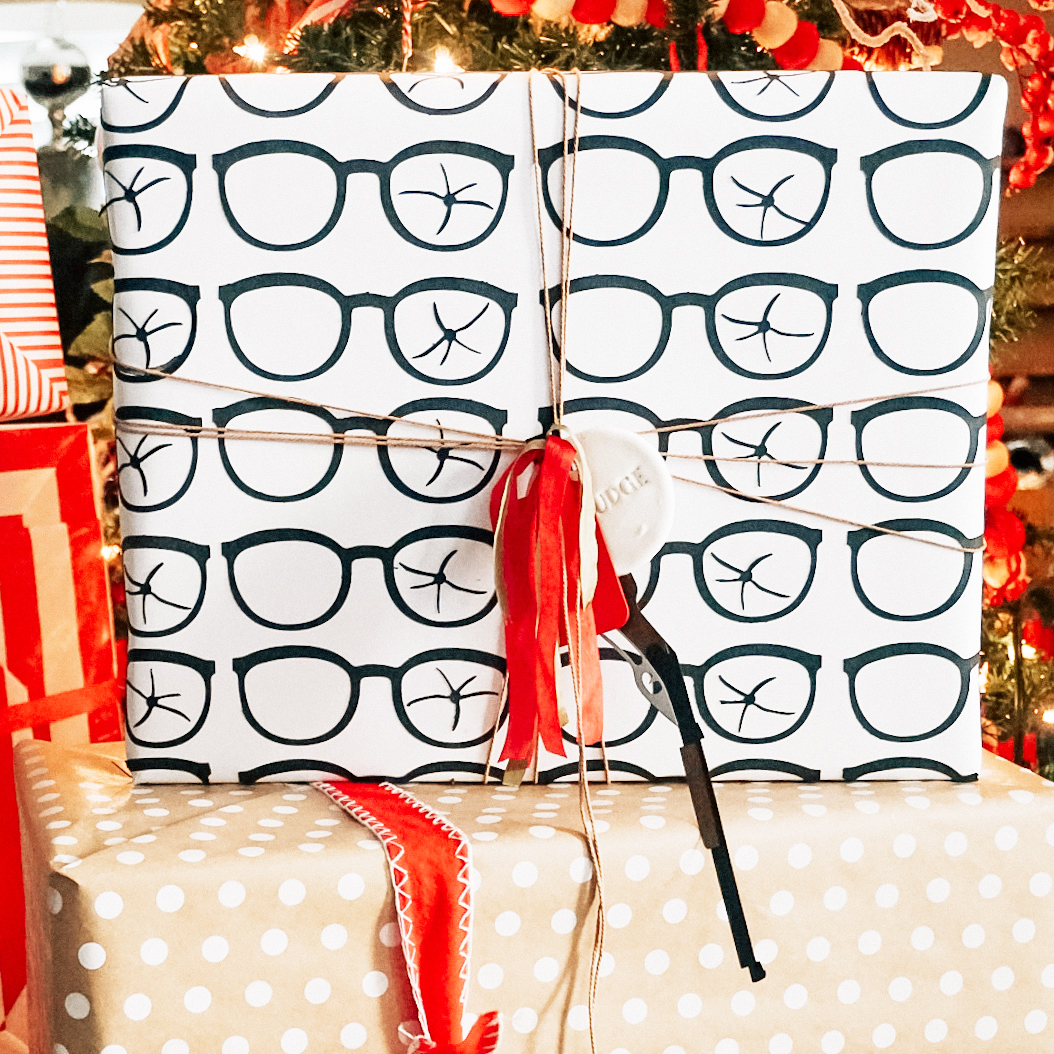 cut paper glasses attached to paper to portray broken glasses from the movie A Christmas Story