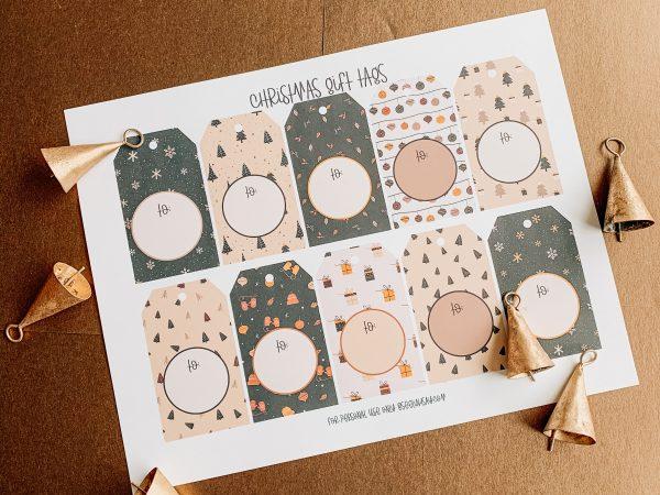higgle christmas gift tags on printed paper