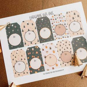 higgle christmas gift tags on printed paper