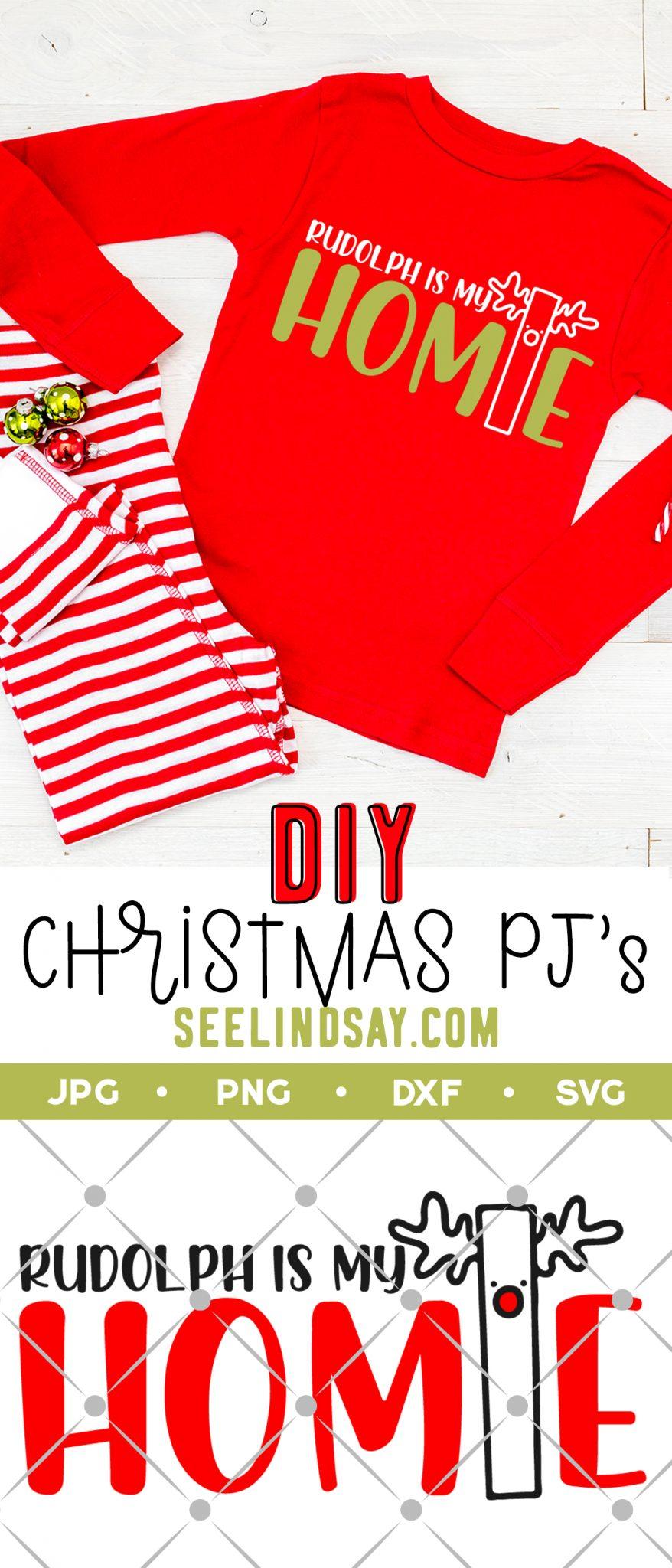 Rudolph is my homie svg on kids pajamas