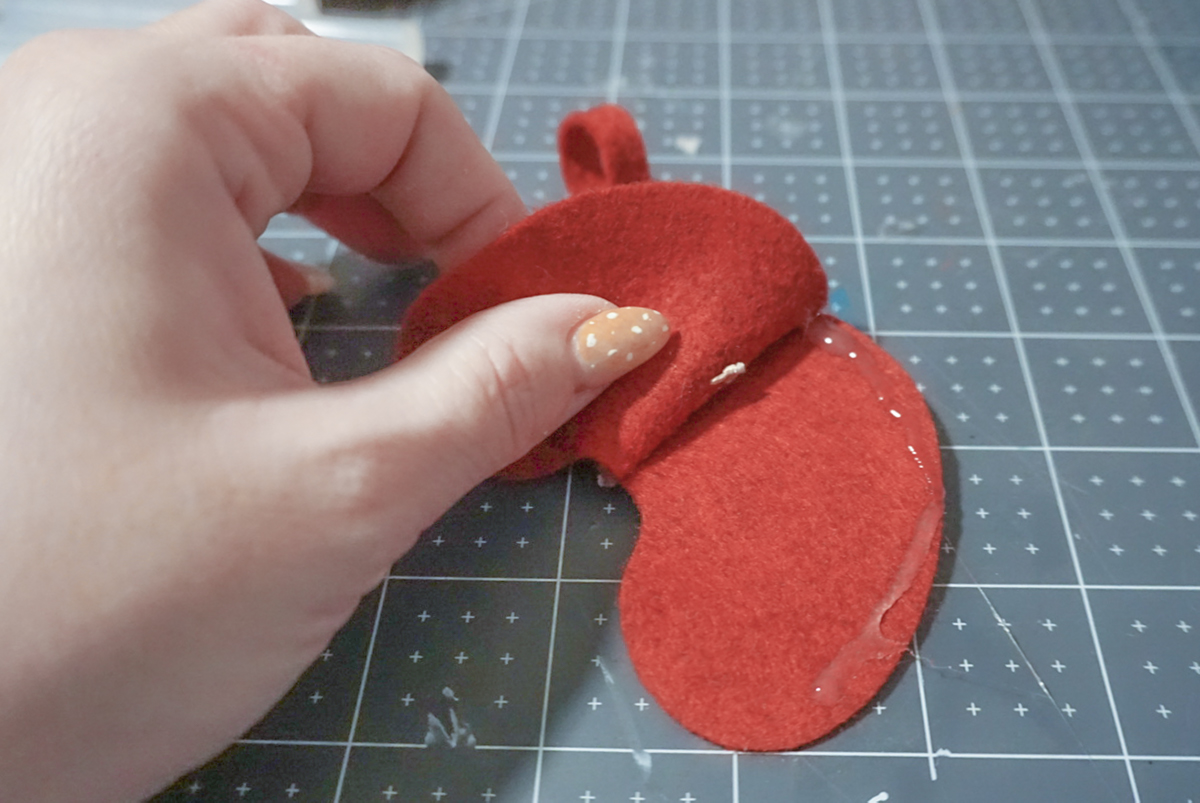 glueing mini stocking pieces together