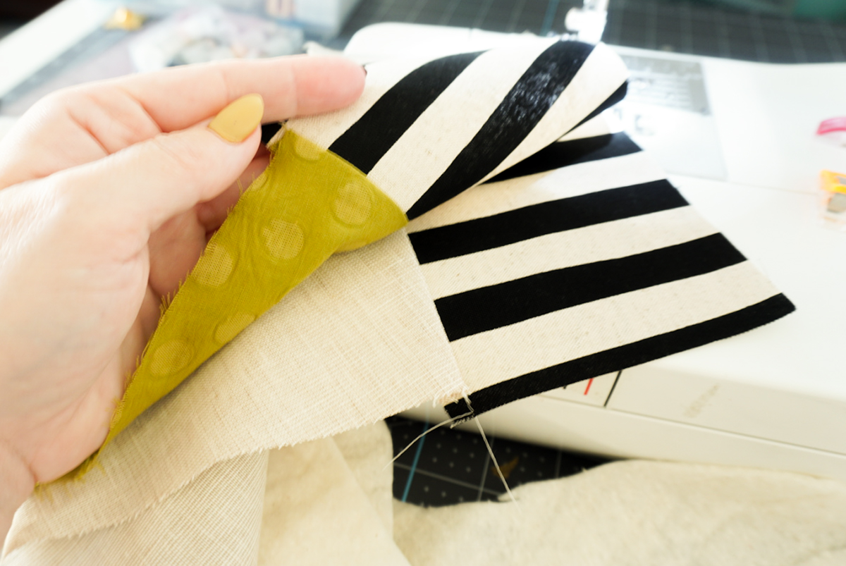sewing a christmas stocking