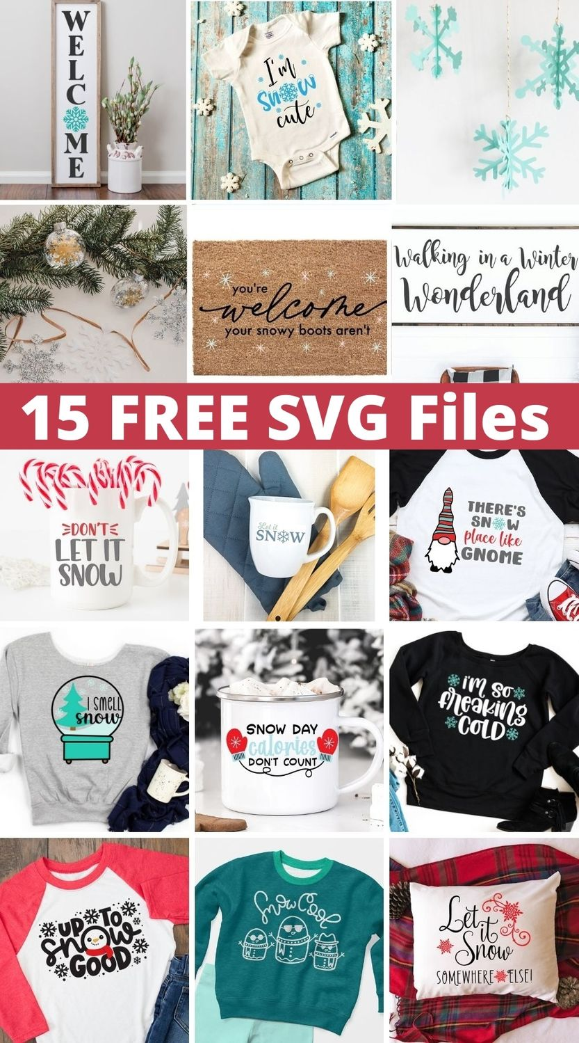 collage of free snow svg files