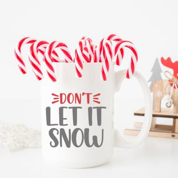 white coffee mug with snow svg