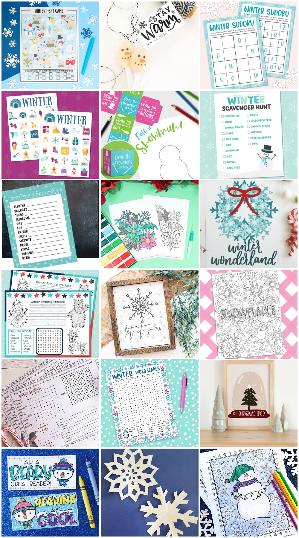Group of free winter printable