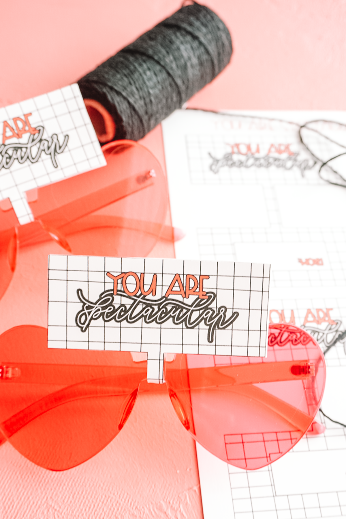 valentine heart shaped glasses with free printable offered