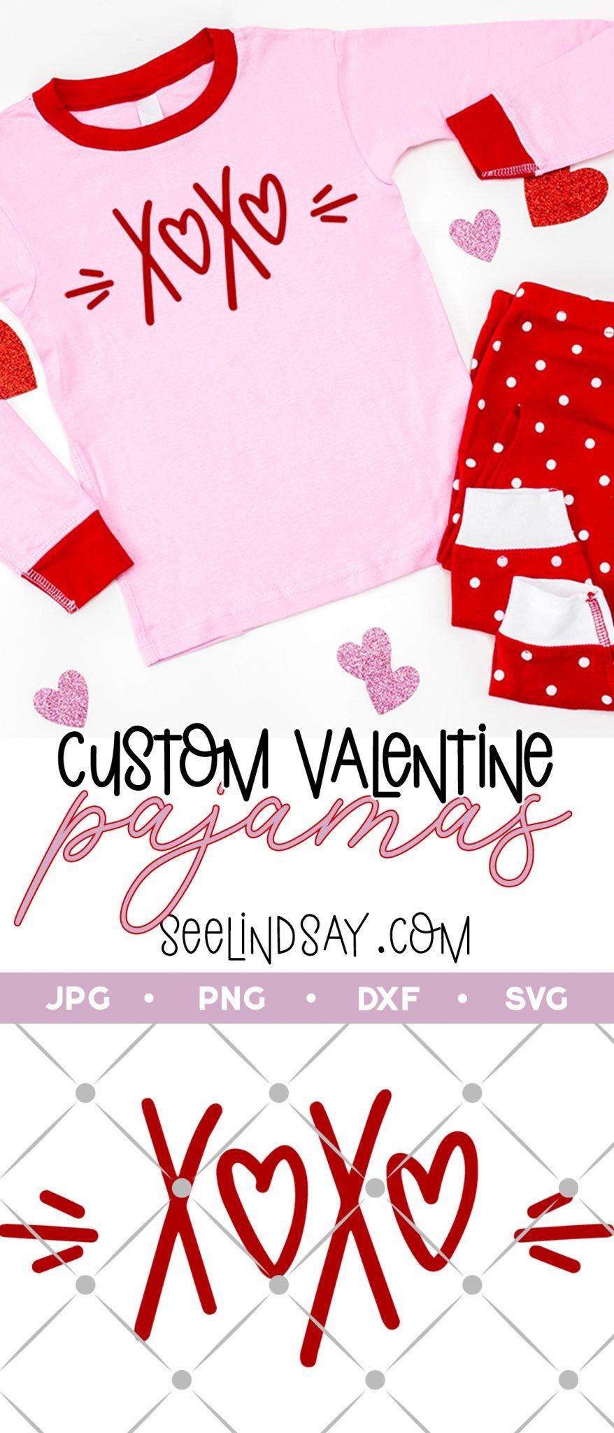 customized valentine pajamas with free xoxo svg