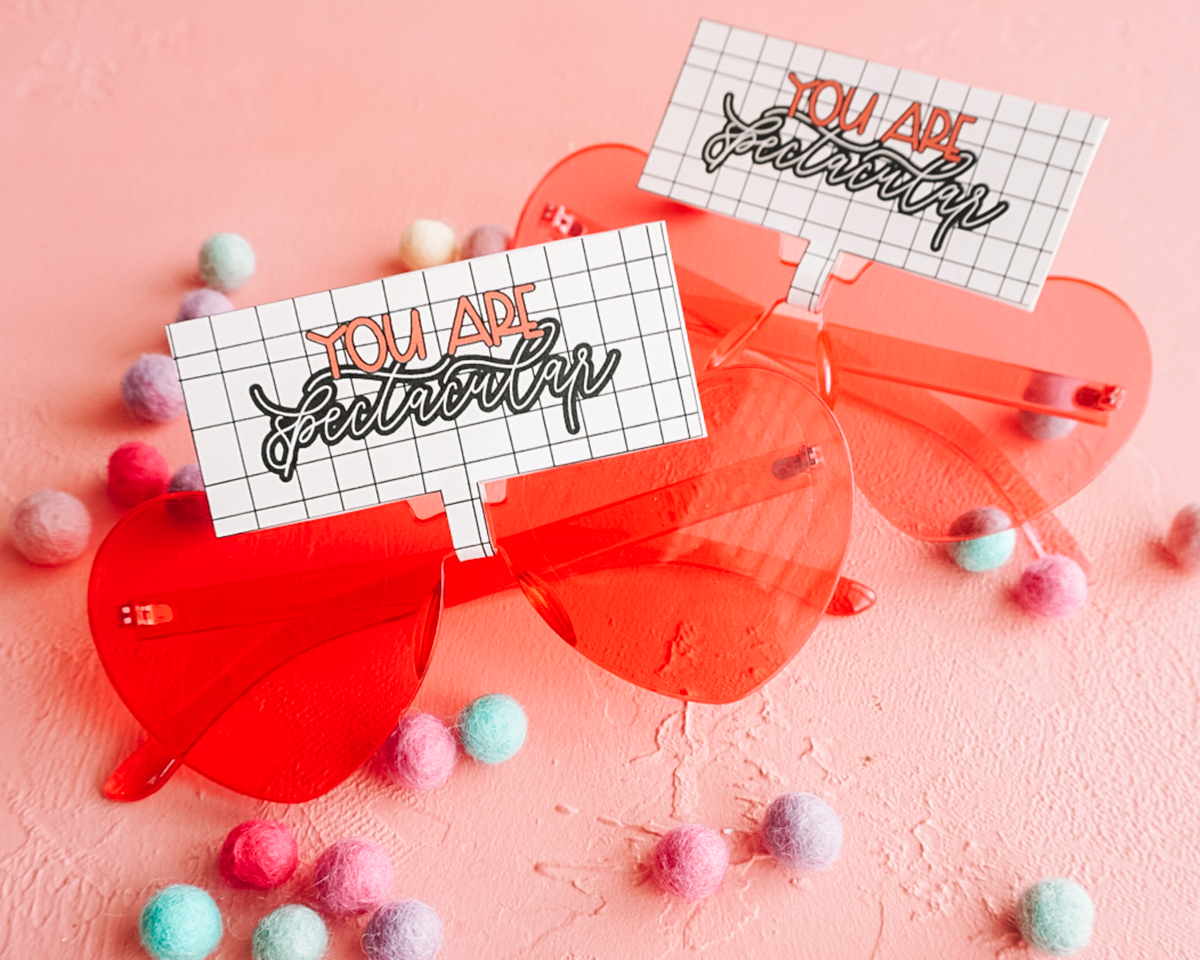 valentine heart glasses with printable