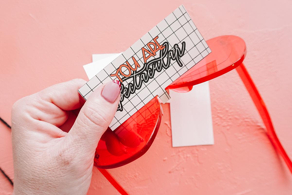 attaching paper to valentine glasses