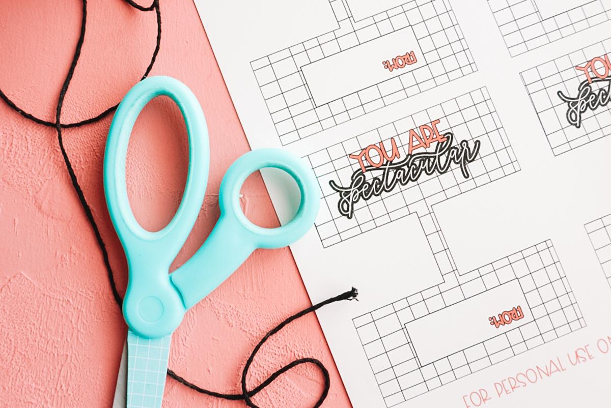 valentine printable with scissors