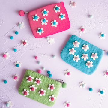 pouch with felt flowers glued on