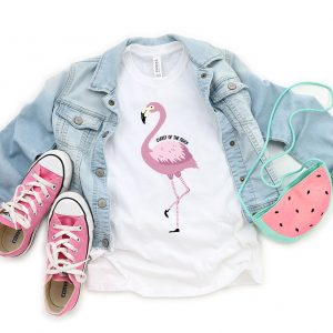 flamingo on a shirt that says cutest of th