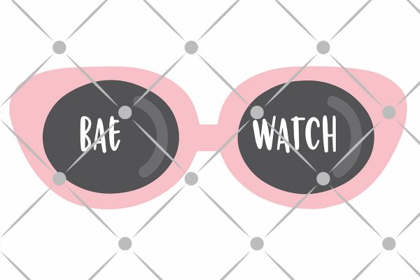 sunglasses with the word baewatch on the lenses