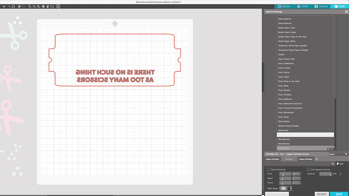 add custom material settings in silhouette studio