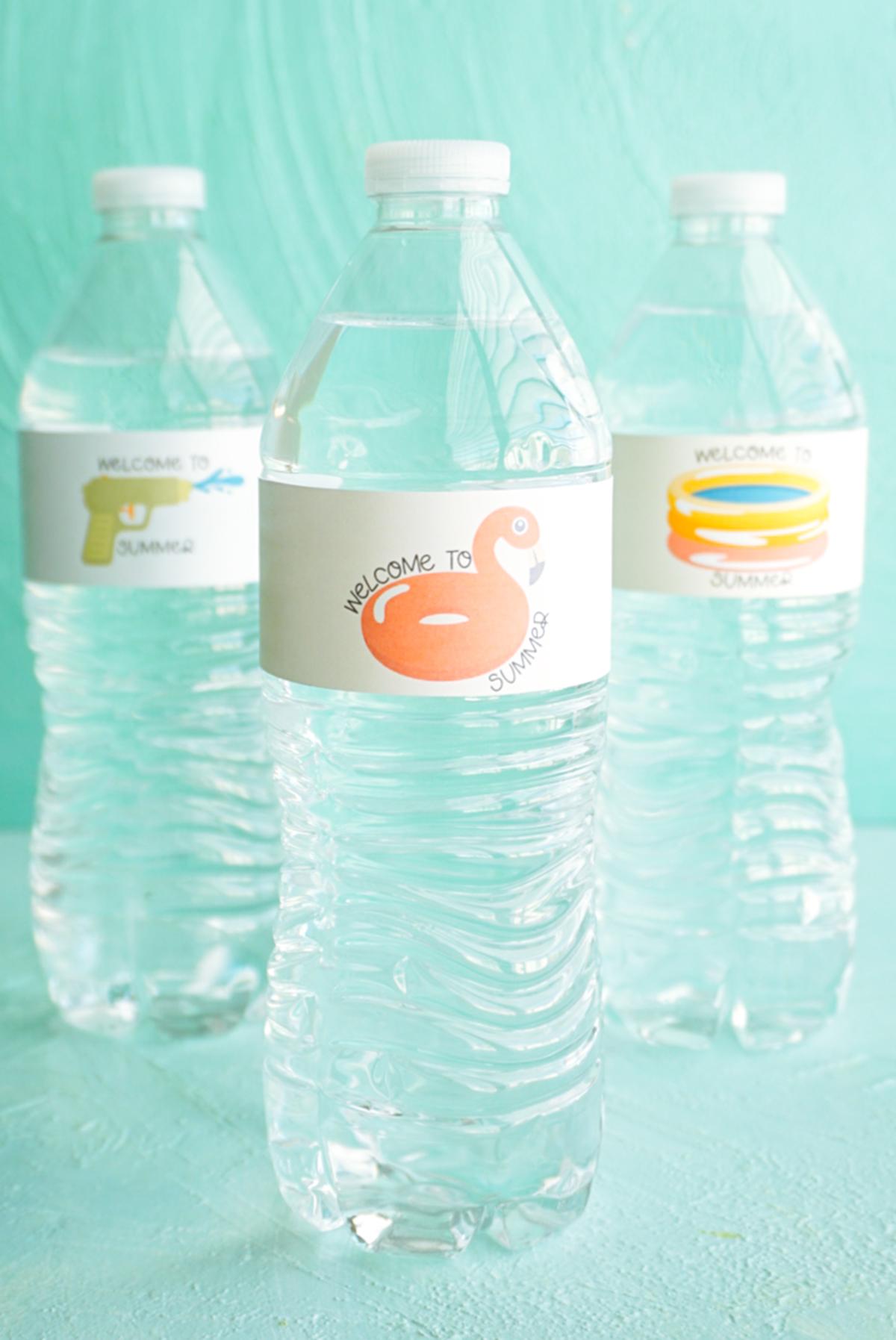 flamingo water bottle label