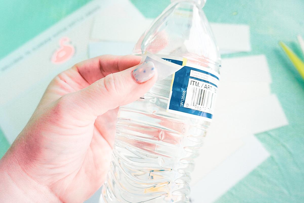 removing Kirkland water bottle label