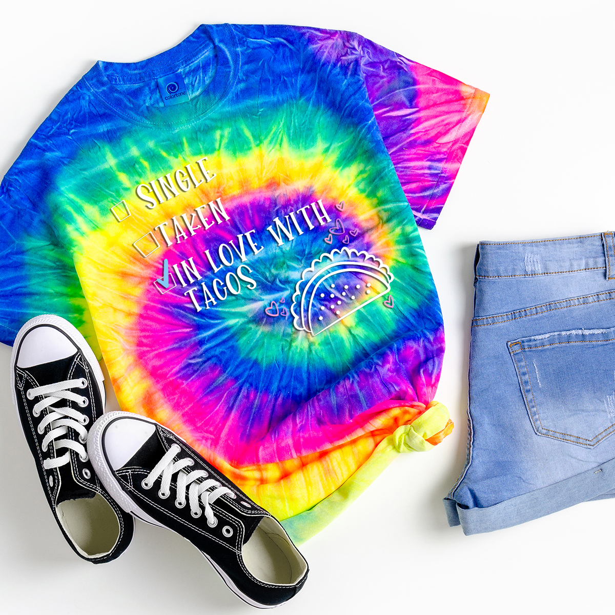 taco quote on tie dye shirt