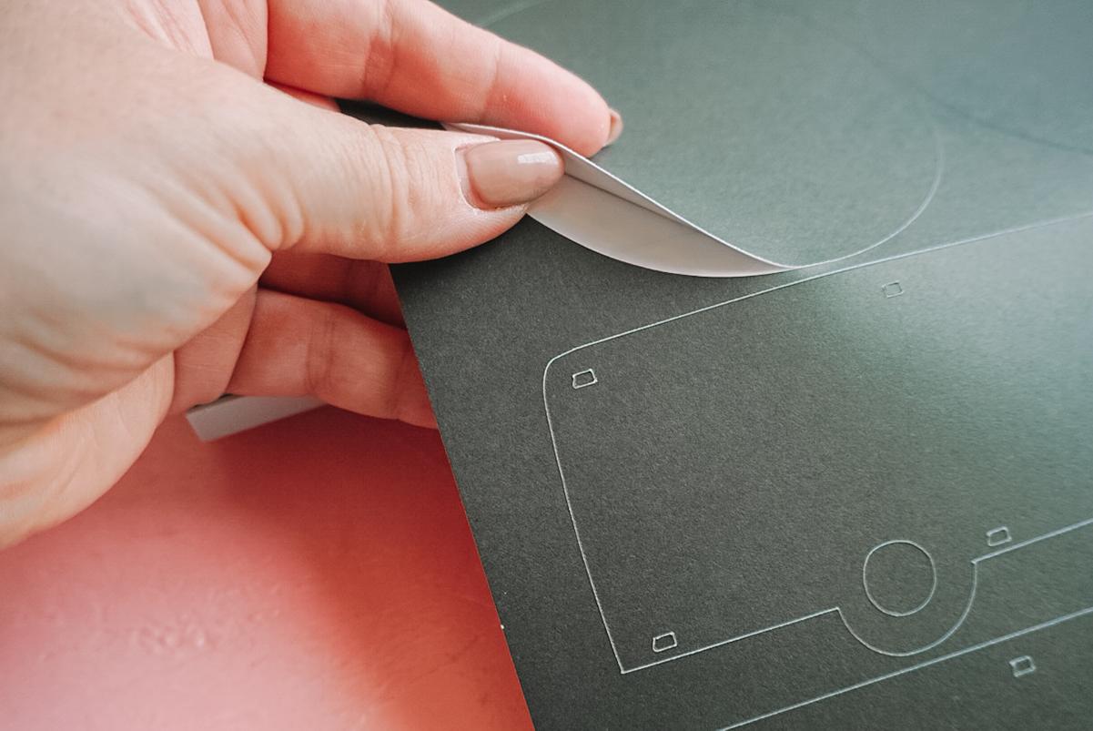 peeling adhesive cardstock