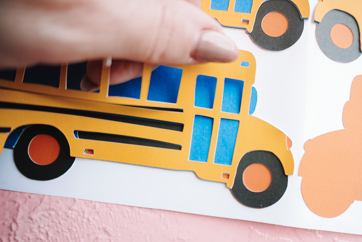 layering adhesive cardstock for diy back to school banner